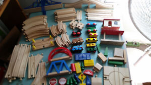 LARGE LOT OF WOODEN BRIO TRAINS/TRACK (THOMAS COMPATIBLE)