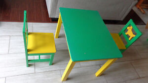 Table and two chairs set. for children