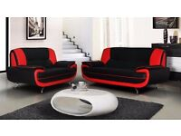 Brand New Carol Faux Leather 3 and 2 Seater Sofa in Black/White, Brown/Cream and Black/Red