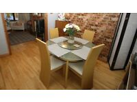 Lazy Susan Glass Dining Table and Chairs Set