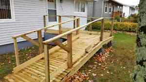 Wheelchair ramp, pressure treated wood, can be taken apart