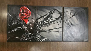 3 piece rose canvas painting