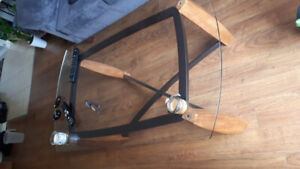 Glass and wood coffee table & 1 end table