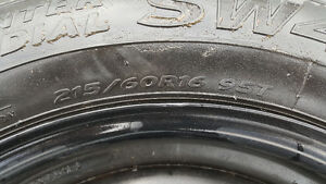 ALMOST NEW WINTER TIRES WITH RIMS SET OF 4!! 215/60R16 London Ontario image 5