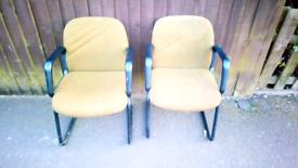 Pair metal frame chairs