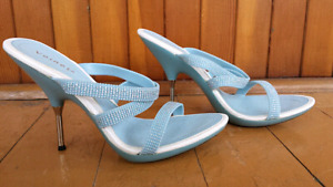 Light blue glitter high heels sandals shoes