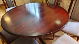 Klose Kollektion Mahogany round oval Extendable Dining table 6 chairs