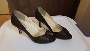 PRICE REDUCED Espresso Brown Bridesmaid Dress and shoes to match