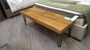 Reclaimed solid wood coffee table with hairpin legs London Ontario image 1