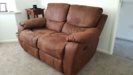 Faux suede 2 seater recliner
