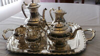 BIRKS - SILVER PLATED TEA & COFFEE SERVICE with TRAY, 1960s