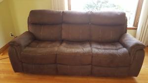 Morrow Reclining Sofa - Saddle Brown, new conditon