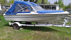 40 HP motor,  16 FT. fiberglass boat and boat trailer