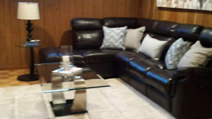 Home Theatre sectional couch with built in recliners