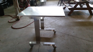 Stainless steel adjustable height table