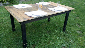 Harvest table made from reclaimed barn boards