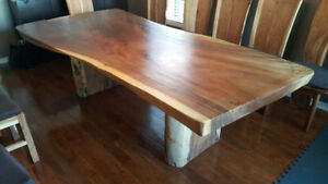 Indonesian Oak (Suar) Live Edge Dining Table & 12 Chairs