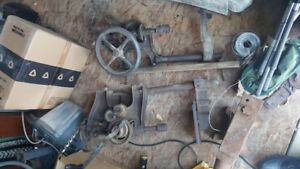 Vintage drill press and anvil
