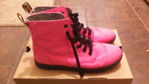 Doc Martens Pink Canvas Boots, Womens Size 9