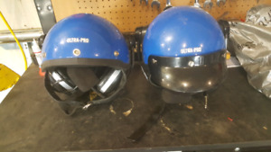 Old motorcycle helmets with microphone and speakers