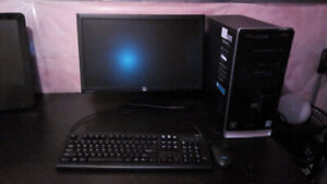 "HP COMPUTER SET WITH 22"" HP MONITOR,  ATHLON PROCESSOR, WIN 10,"