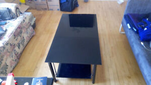 Glass L desk and glass coffee table sell as set or separate
