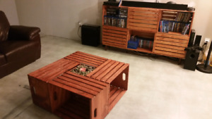 Custom crate table and crate TV stand