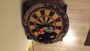 Genuine bristle dart board with darts