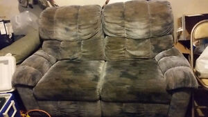 Blue vintage couch and reclining chair set
