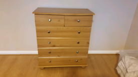 Wooden chest of drawers and 2 bedside cabinets