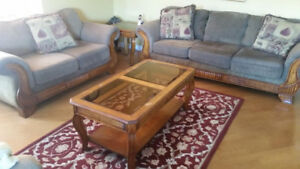 Sofa, love seat and 3 matching tables