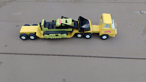 Vintage Tonka Truck with flat bed trailer and mini bulldozer