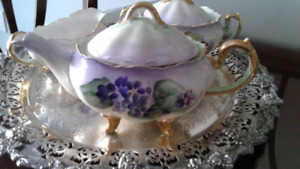 Antique Porcelain Tea Set--Hand painted --3 Pieces