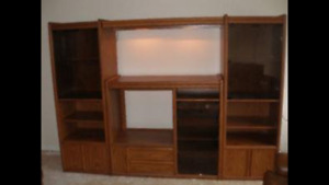 3-section wall unit, oak. Low voltage lighting. Great condition.