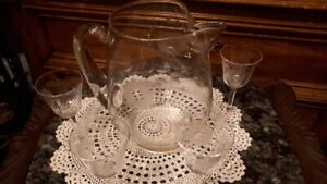 large cornflower pitcher with 4 glasses