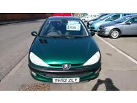 PEUGEOT 206 1.4 LX 3 DR MET GREEN 90K MILES LONG TEST CLEAN P/X TO CLEAR 52 REG