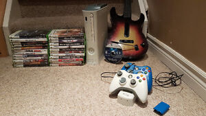 Xbox 360 + 25 Games, Charging Station & Guitar