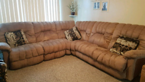 Tan microfiber sectional couch