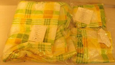 Vtg 60's Mod Green/Yellow Plaid Taffeta Bedspread & Pillow Shams Full Size NOS