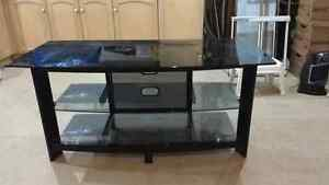 Black Glass TV Table - New Condition
