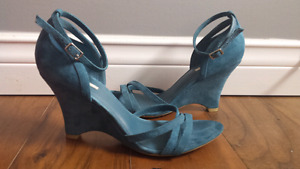 Turquoise Suede Wedge Shoes