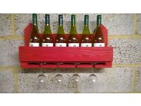 Rustic Wall Mounted Wine Rack / Glass Rack / Holder
