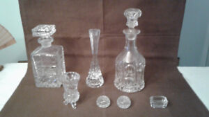Crystal Decanter and candle stick and accessories
