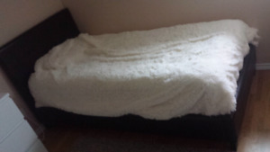 Bed + matress + springbox, leather bed, white cover not included