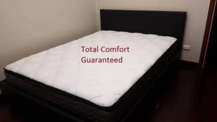 Qualiy Queen PU Bed Frame and Pillowtop Mattress