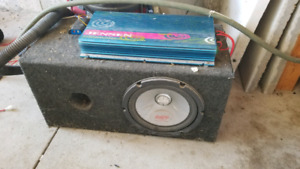 Pioneer sub with box, amp and line output converter