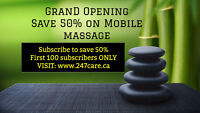 50% Off Mobile Massage at your Home - First 100 customers ONLY