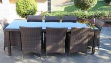 9 Piece Wicker Table and Chairs Set Woombye Maroochydore Area Preview