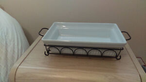 Brand New White Casserole Dish with Black Wire Stand