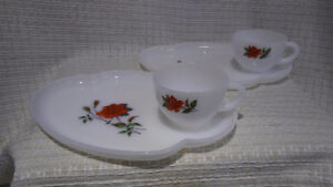 Federal Rosecrest Milk Glass Snack Trays with Cup (2)